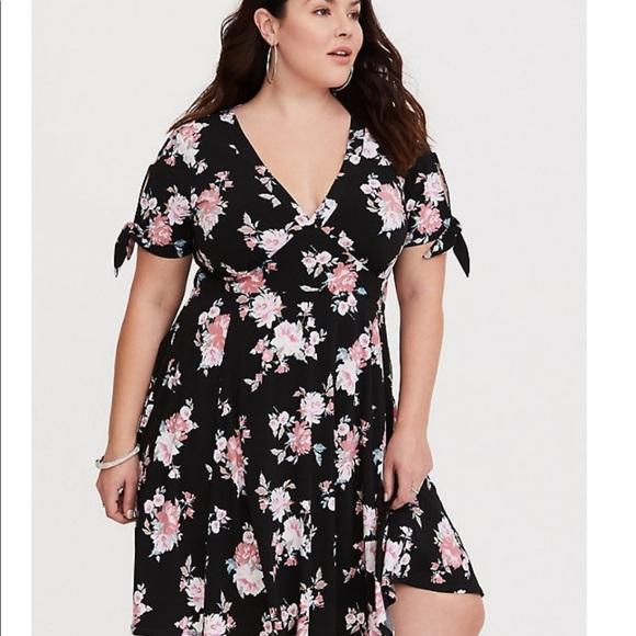 bf6abe13f46 Torrid acas black floral paint dress plus size 3
